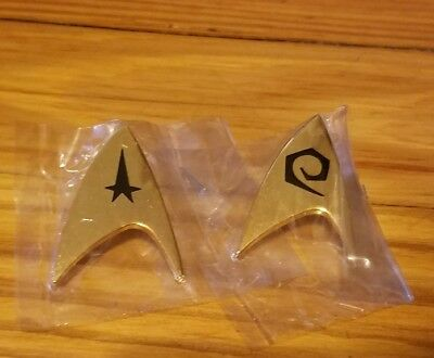 2 Star Trek Motion Picture Badge Pin Hollywood Pins Goldtone 1985 1.5""