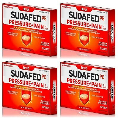 4-PACK Sudafed PE Pressure + Pain 96 Caplets EXP 2020 Sinus Congestion  Headaches
