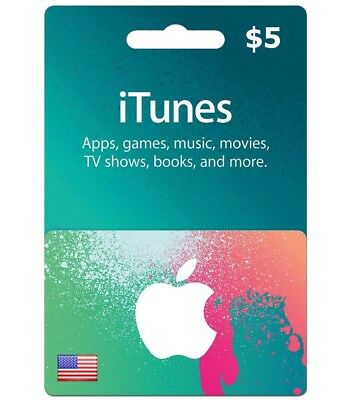 Itunes Gift Card 5 Usd Key 5 Dollar Us Apple Store Code For