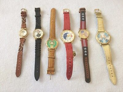 LOT OF 6 VINTAGE Women's Watches Characters Betty Boop, Santa Clause, Flag, More