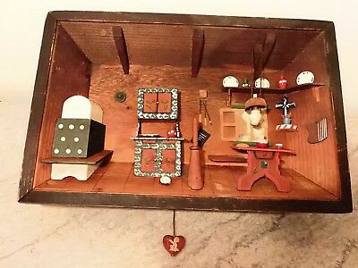 Antique ANRI Hand Carved 3D Wood Musical Lighted Shadow Box