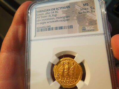 NGC Ancient Coin Greece Thracian Scythian Coson Gold Stater 54BC Mint State !!!