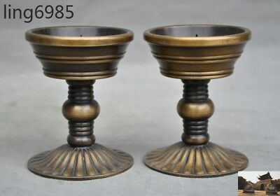 antique Old Chinese Pure Bronze Palace Candle Holder Candlestick statue pair