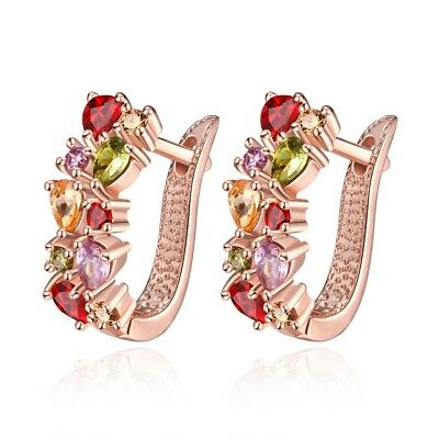 182d496b2 18K Rose Gold Plated Small Hoop/Huggie Earrings 6PCS Colorful Cubic Zirconia