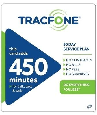 TRACFONE 450x MINUTES VOICE 450, 450 SMS, 450 DATA, 90 SERVICE DAYS