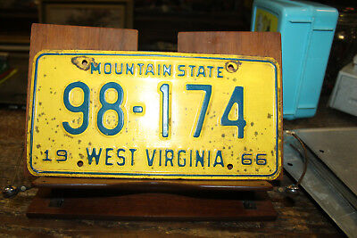 1966 West Virginia License Plate 98-174  Low 5 Digits