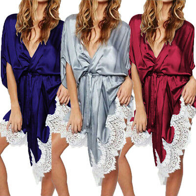 USA Womens plain Silk Satin Robes Bridal Wedding Bridesmaid Bride Gown bath robe