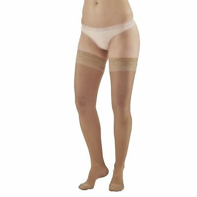 AW Style 4 Sheer Support Closed Toe Thigh Highs w/ Lace Band - 15-20 mmHg