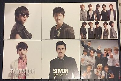 Set of 6 Super Junior Jacket Photo Cards - Heechul, Ryeowook, Siwon, Group