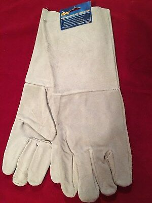 1 Pair 400mm Leather Durable WELDERS GLOVES Safety Workwear (Grey) - New