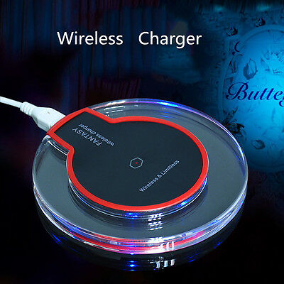 Qi Wireless Clear Fast Charger Charging Pad for Samsung Galaxy Note 5 S7 Edge S8