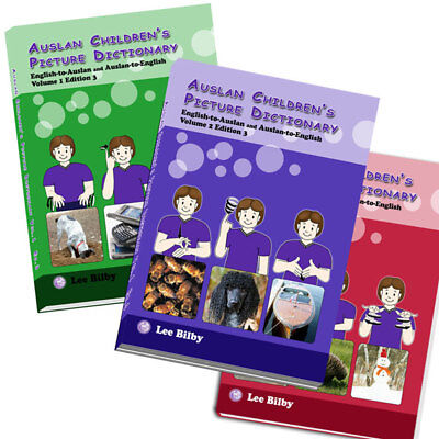 Auslan Children's Picture Dictionary Set. Volume 1, 2 and 3. Photo plus Sign