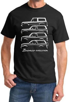 1966-92 Ford Bronco Evolution Classic Outline Design Tshirt NEW FREE SHIPPING