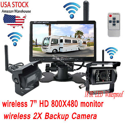 """For Vehicle RV Truck Bus Wireless Dual Backup Camera 7"""" Monitor Rear View Kit"""