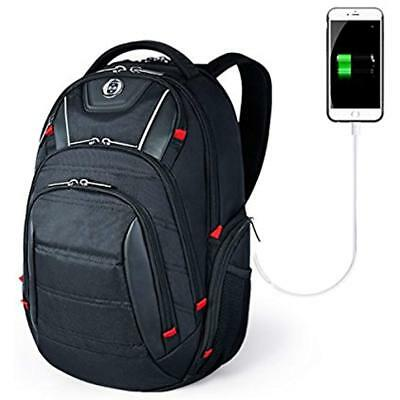 Laptop Backpack, Busniess Travel Polyester With USB Charging Port And RFID Fits