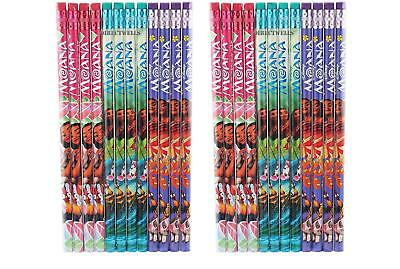 24 pc New MOANA AND MAUI MOVIE PENCILS BIRTHDAY PARTY FAVORS BAG supplies GIFTS