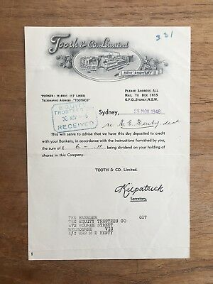1946 Vintage Tooth & Co Ltd Kent Brewery Sydney Nsw Share Invoice Receipt P2