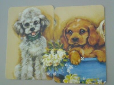 2 Single Swap/Playing Cards - Pair Cute Put Together Dogs (Blank Backs)