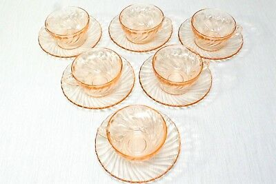 Vintage Arcoroc France Pink Swirl Glass Rosaline SET OF SIX Cup and Saucer sets