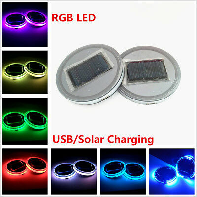 Car 7 Colorful LED Solar Cup Pad Cover Car Interior Decoration Light Accessories