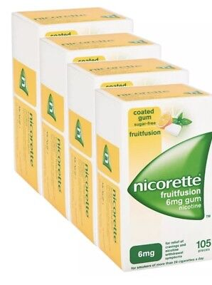4 x Nicorette Fruitfusion Gum 6mg Pack of 105 Pieces (105 pieces x 4)
