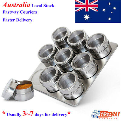 9 Pieces Kitchen Storage Containers Tools Stainless Steel Magnetic Spice Jars