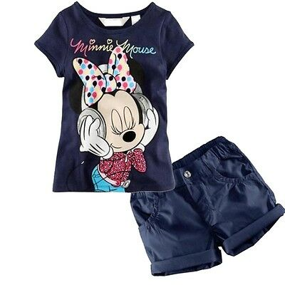 Kids Baby Boys Girls Mouse Summer T-Shirt Tops+Shorts Pants Set Outfit TJDM001