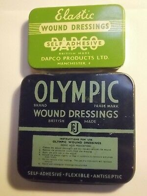 2 Old Chemist DAPCO  & OLYMPIC Wound Dressing Plaster Tin. VG