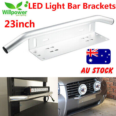 License Number Plate Frame Holder Bull Bar Bumper Mount Light LED Bracket Silver