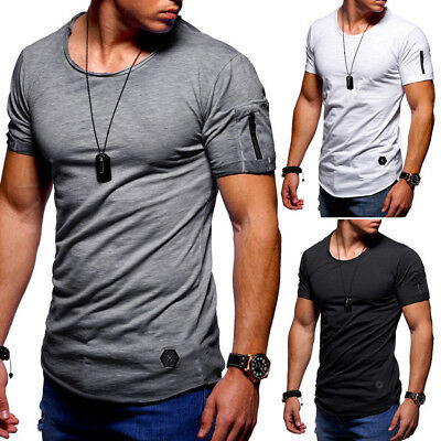 Mens O Neck Slim Fit Short Sleeve Muscle Tee T-shirt Casual Tops Henley Shirts T