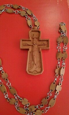 "4"" Natural Wood Carved Greek Orthodox Pectoral Cross with Wooden Chain 47"""
