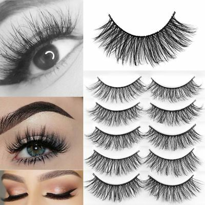 SKONHED 5 Paires 3D Mink Faux Cils Messy Wispy Long Eye Lashes Maquillage