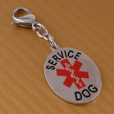 Service Dog ID Tag Durable Stainless Steel Medical Alert Symbol One Sided
