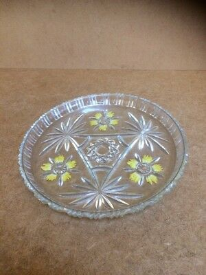 Vintage Press Glass Round Tray with Floral Decoration