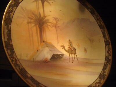 Antique Hand Painted Nippon Egyptian Desert, Palms, Camels Wall Plaque / Plate