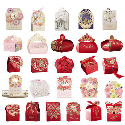 36 Style Wedding Favor Boxes Red Flower Laser Cut Ribbon Candy Box-100pcs
