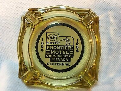 "Frontier Motel, Carson City Nv, Vintage Ashtray, 3.5"" Amber"