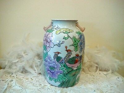 Vintage oriental vase with birds of paradise and pink flowers, Large floral vase