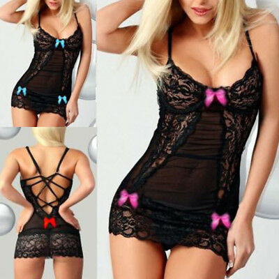 Sexy/Sissy Lace Racy Babydoll Lingerie Underwear Sleepwear Chemise Sleepdress UK