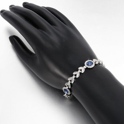 XOXO Tennis Bracelet with Blue Crystal in Sterling Silver-Plated Brass, 7 1/4""