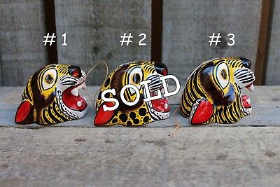 Mexican Folk Art Hand Carved, Small Tiger Masks SOLD SEPERATELY! Tribal Jungle