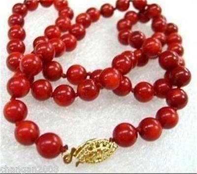 """Natural 8mm Red Sea Coral Round Beads Necklace 18"""""""