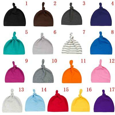 Newborn Baby Knotted Hat Winter Warmer Infant Toddler Boys Girls Soft Solid Caps