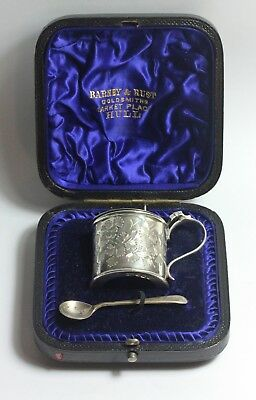 Antique Sterling silver cased mustard pot and spoon Victorian floral bright cut