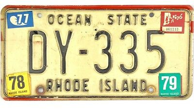 1970's Rhode Island License Plate #DY-335 WITH LOTS OF STICKERS