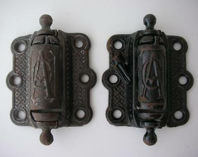 Two Vintage/Antique A.C. Cast Iron Door Hinges Spring Loaded Heavy Duty