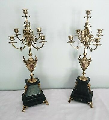 "Antique Brass Italian Marble Candelabras Griffin Ormalou with Claw Feet 28"" tall"