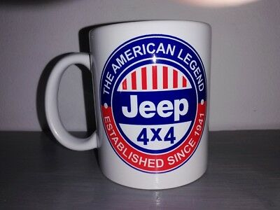 TASSE ceramique MUG COFFEE WW2 4x4 JEEP WILLYS MILITARIA AMERICAN LEGEND BICOLOR