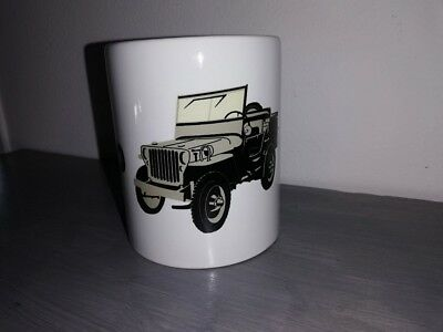 TASSE ceramique MUG COFFEE WW2 4x4 JEEP WILLYS MILITARIA dessin + logo lettrage