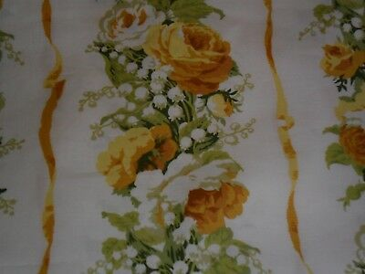 Vintage fabric.Stripes of roses,lily of the valley.Never used.Chintz.Cotton.
